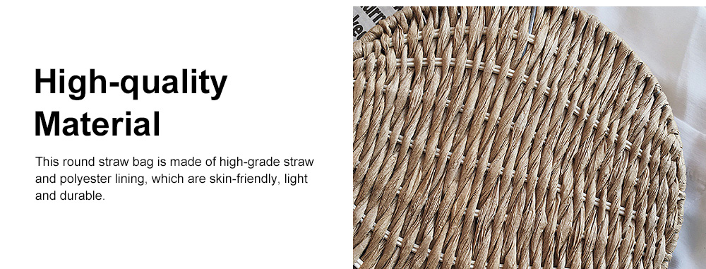 Simple Fancy Straw Shoulder Round Bag for Ladies, Beach Vacation Holiday National Style Women Shoulder Bag 4