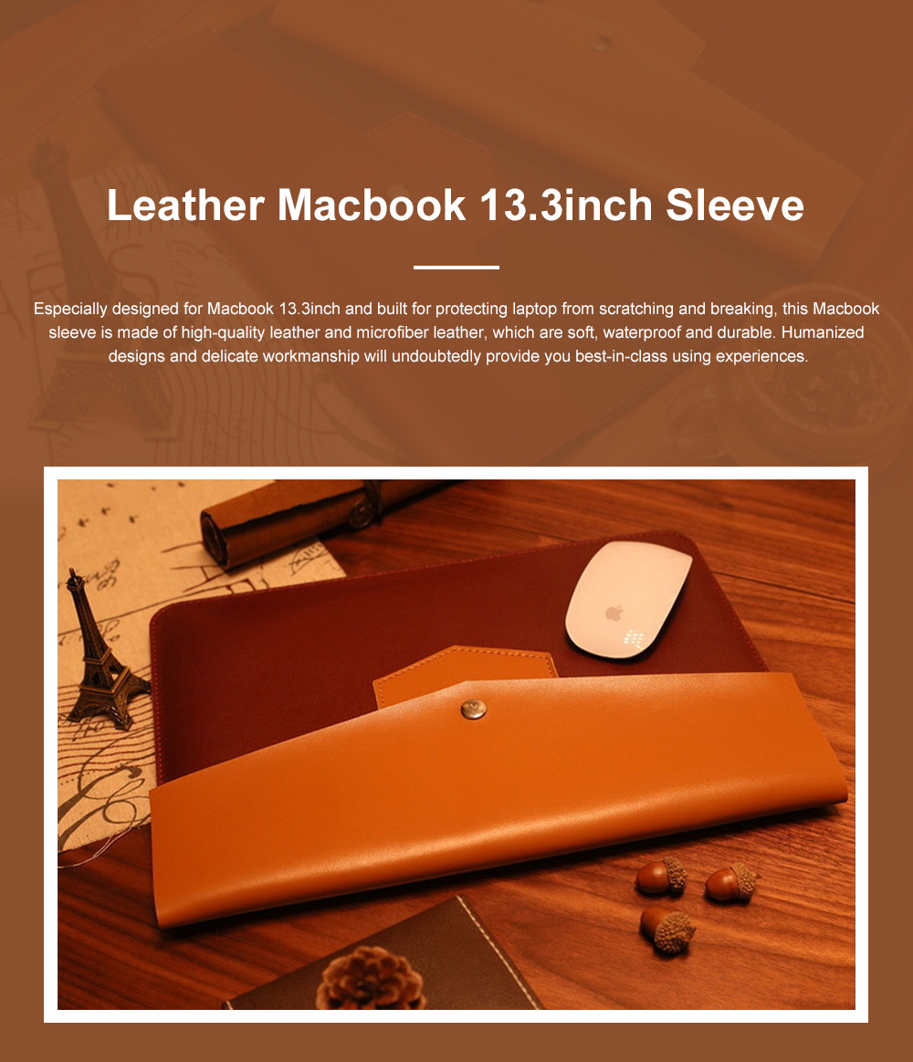 Minimalist Contrast Colored Bag for Mackbook 13.3 inch, Ulta-soft Microfiber Leather Laptop Protective Cover 0