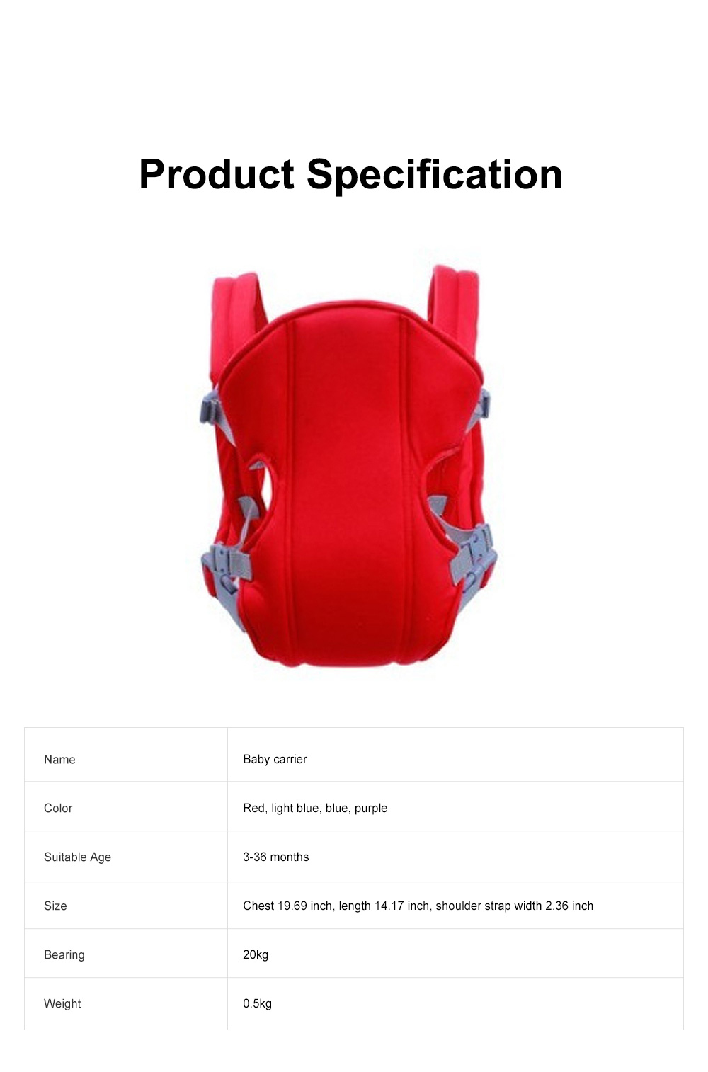 Multifunctional Breathable Newborn Baby Carrier, Adjustable Infant Front Sling Backpack with Safety Buckle 6