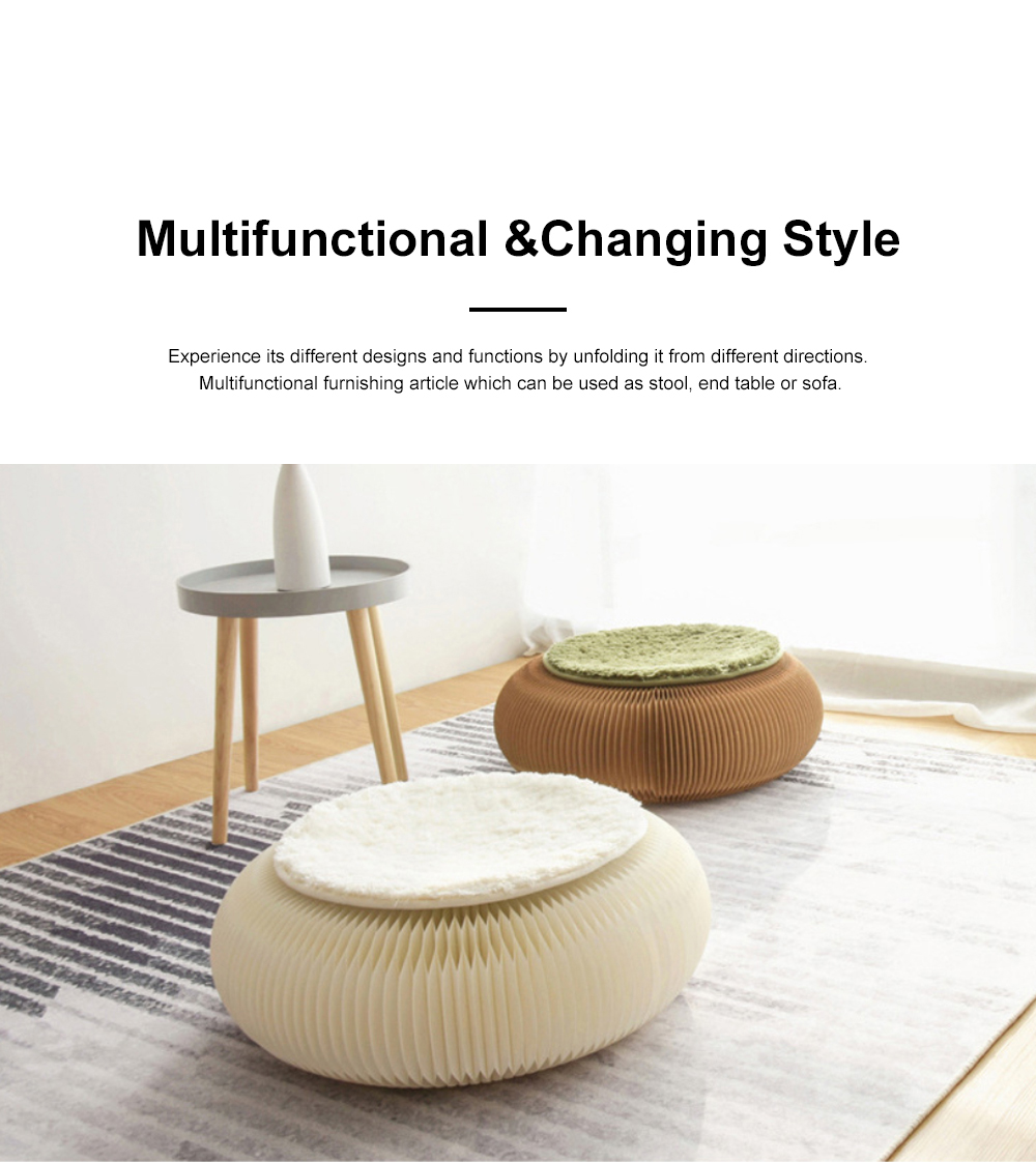 Foldable Accordion Paper Stool Telescopic Short Paper Chair Personality Sofa Couch Tatami 1
