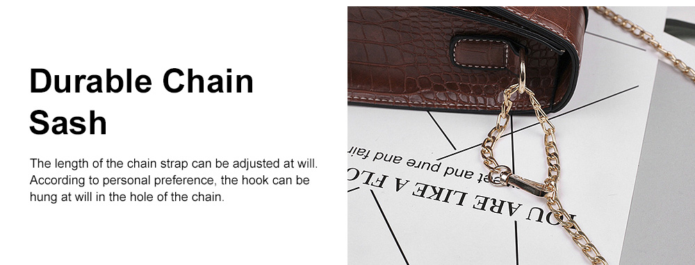Minimalist Alligator Pattern Chain Lady Shoulder Bag, Skin-friendly PU Leather Small Handle Bag for Women 4