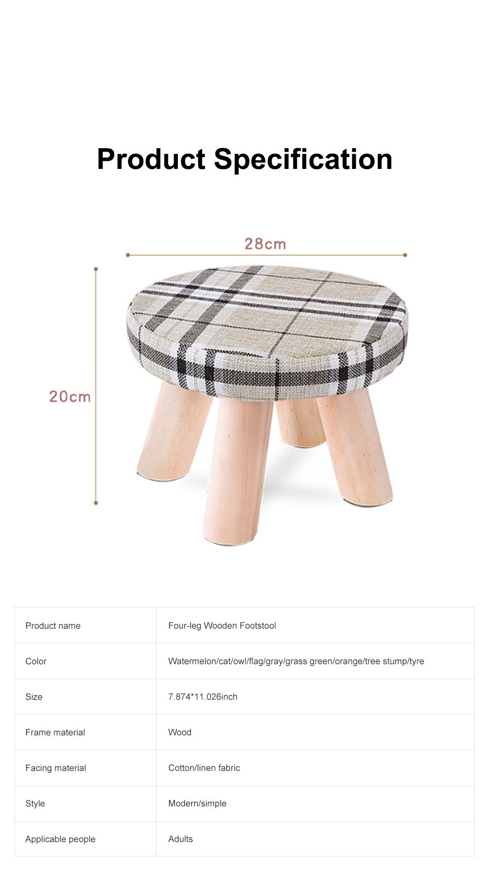 Simple Fruit Patterns Footstool with Solid Wooden Legs Small Round Fabric Ottoman for Home Decoration 9
