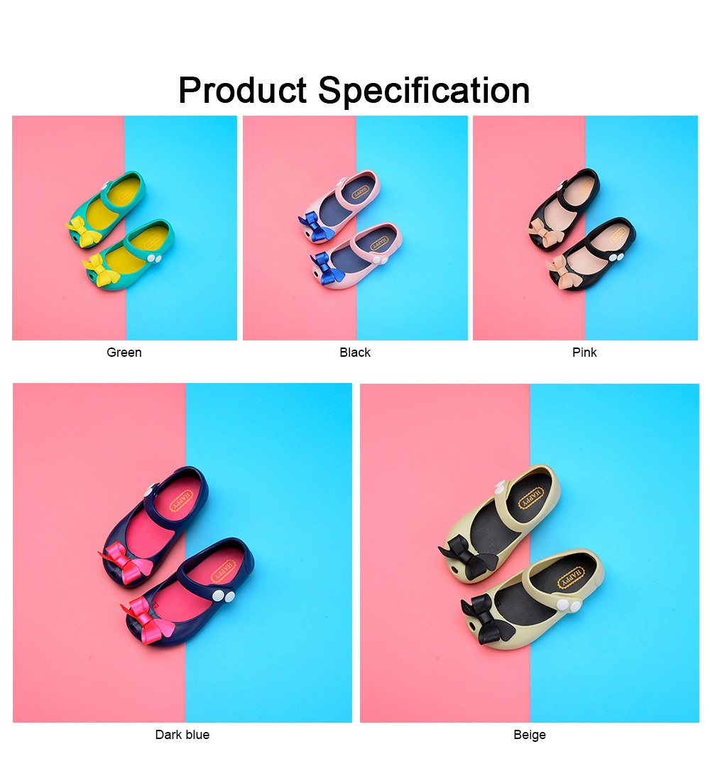Cute Stylish Bowknot Decorative Soft Flexible PVC Rubber Children Girls Nude Beach Shoes with Snap Fastener 6