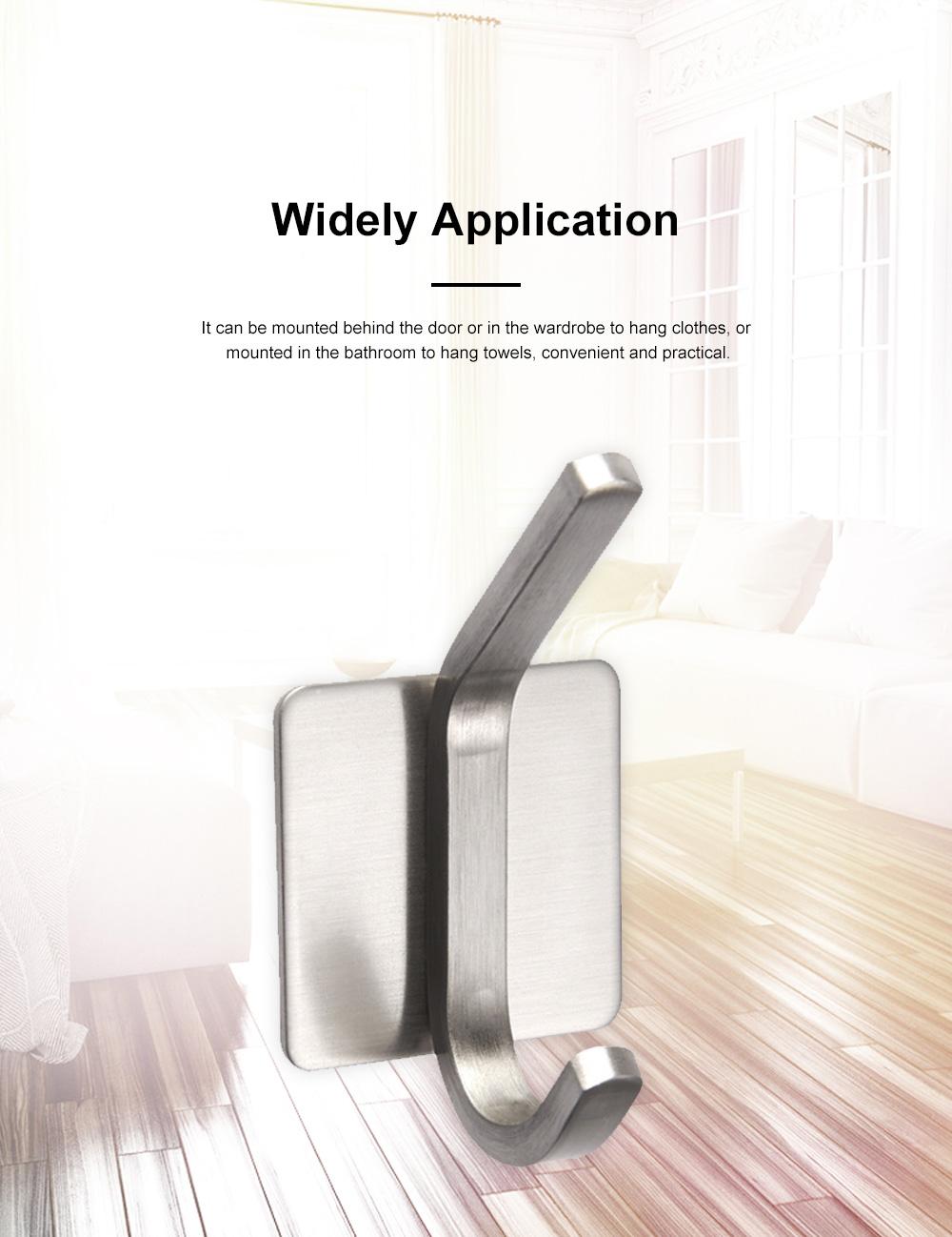 3M Glue Long Tail Hooks for Kitchen Bathroom Bedroom Hanging Waterproof 304 Stainless Steel Wall Hooks 2