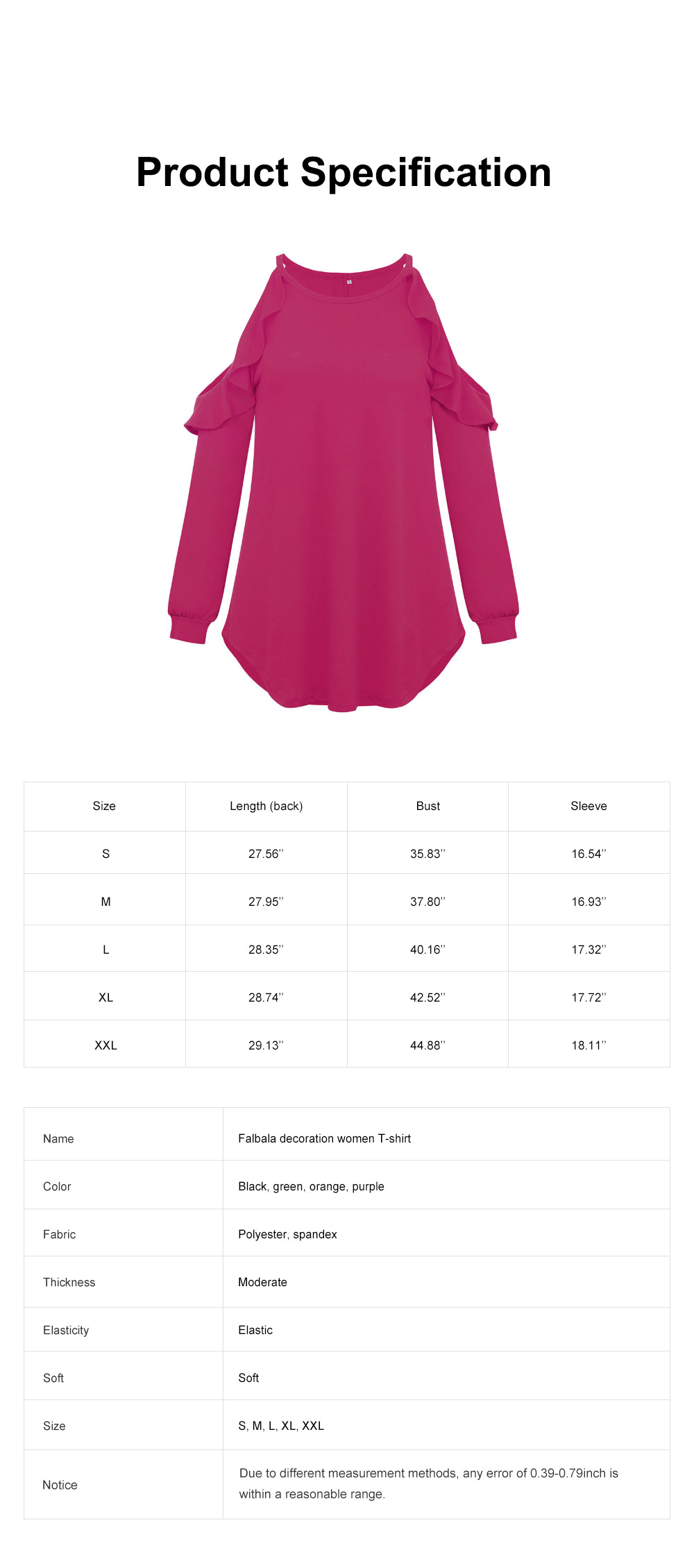 Stylish Falbala Decoration Off-the-Shoulder Women Tops, Soft Breathable Long Sleeves T-Shirt for Ladies 6