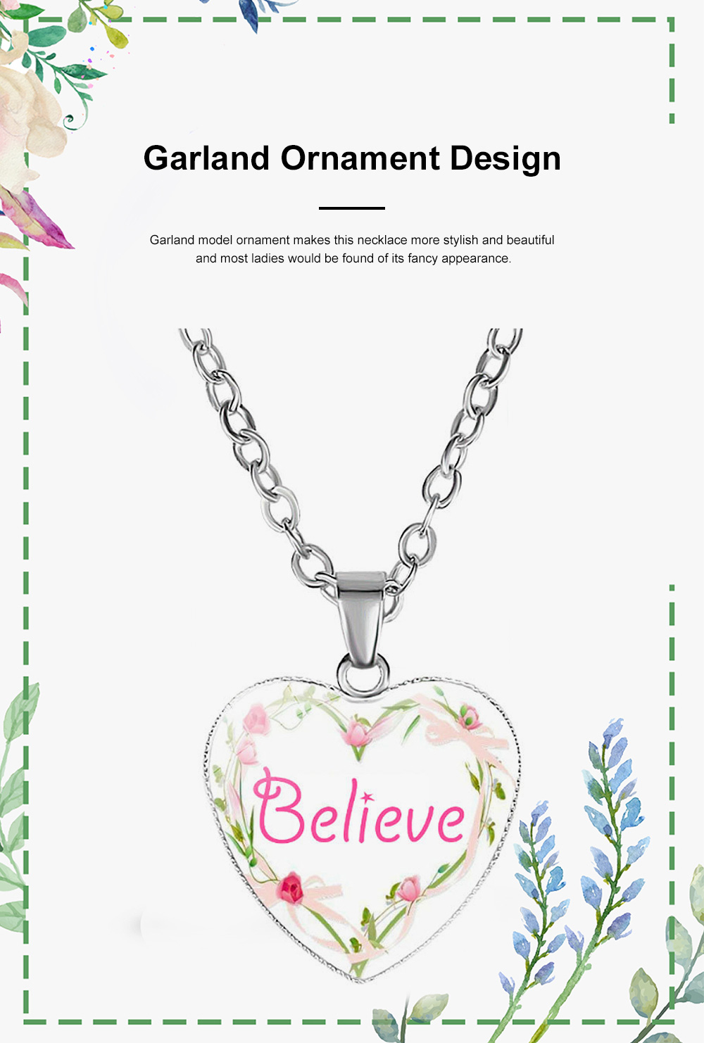 Elegant Fancy Hope Faith Dream Letters Decoration Necklace, Stylish Heart Shaped Roses Garland Ornamented Necklace for Ladies 3