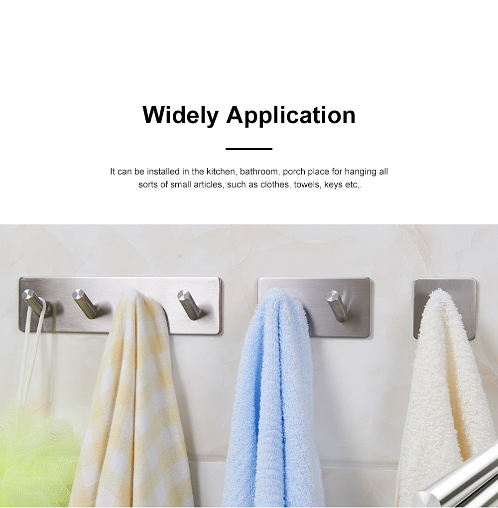 Stainless Steel Hooks for Hanging Kitchen Utensils and Clothes Drilling-free and Waterproof 3M Glue Wall Hooks 1