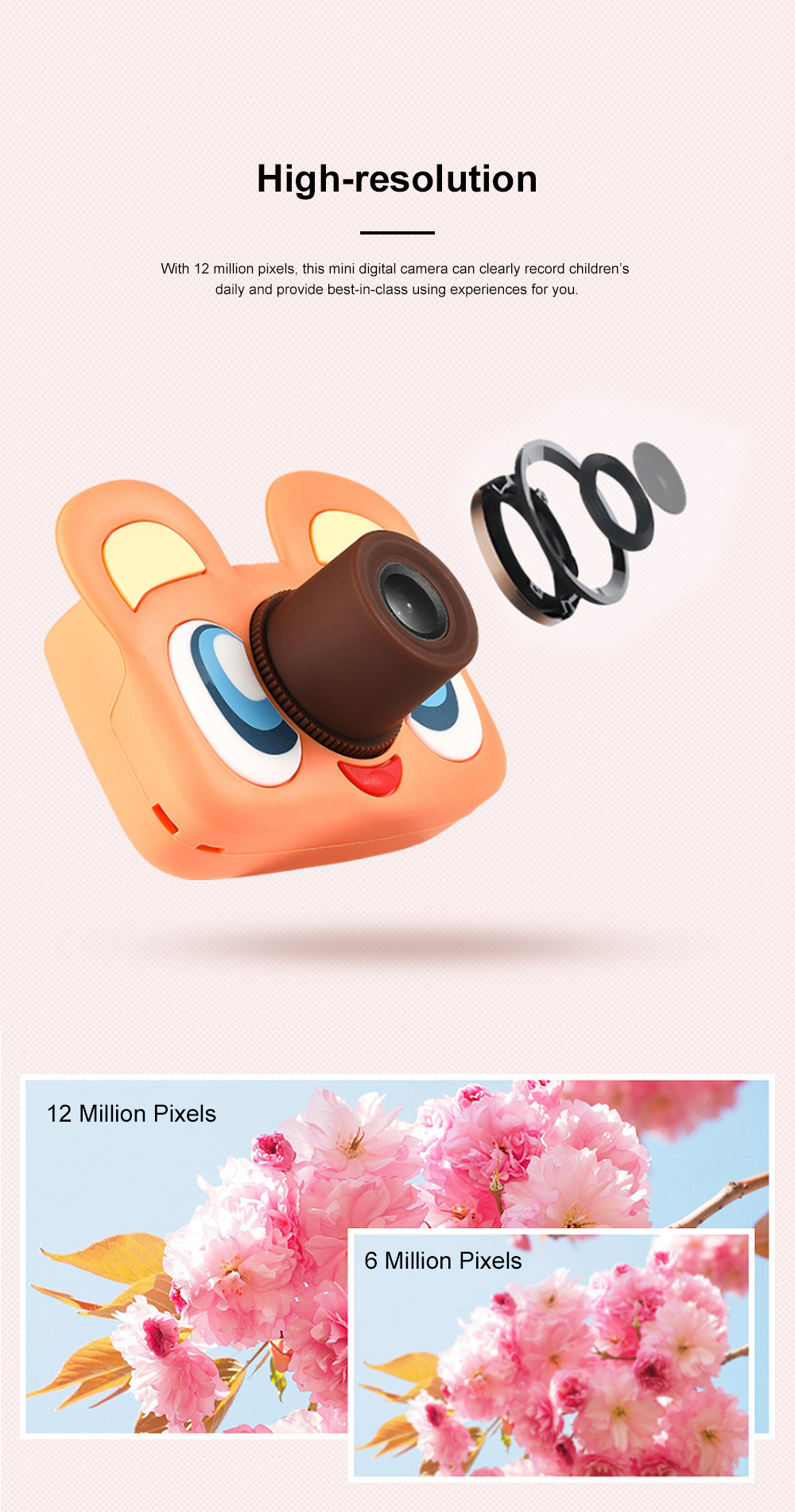 Cute Animal Model Mini Digital Camera for Children WIth Breaking-proof Silicone Shell 16G 1200W HD Pixel 2.0 inch Video Recorder Birthday Present 2