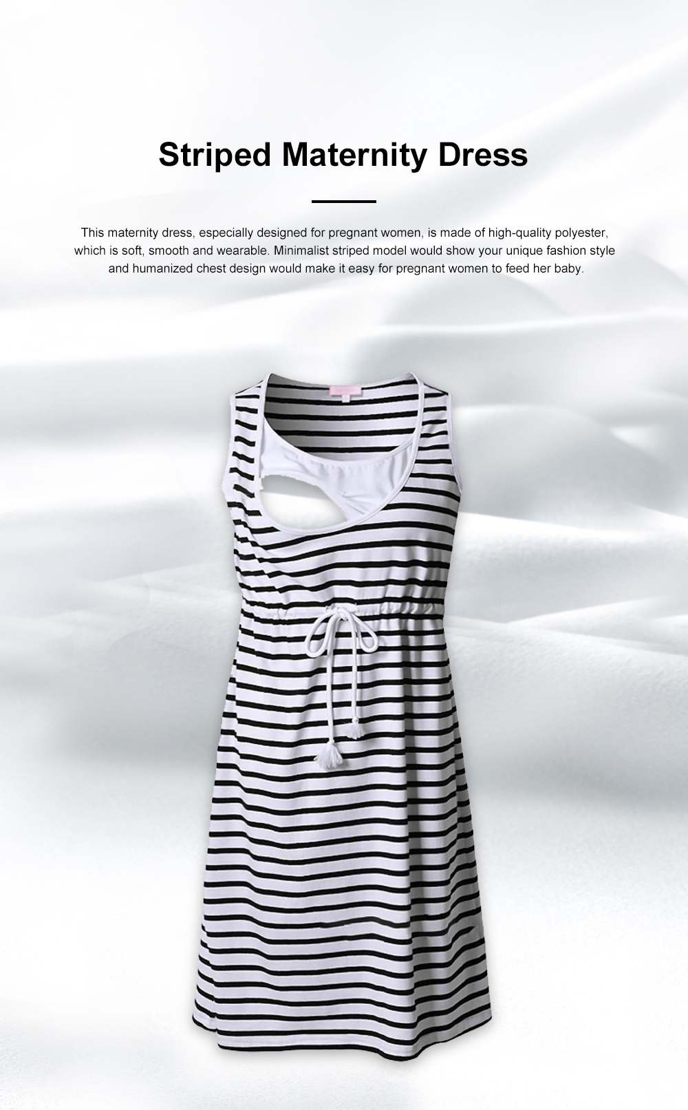 Contrast Colored Striped Maternity Dress, Pregnant Woman Cloth Nursing Dress with Drawstring Waist 0