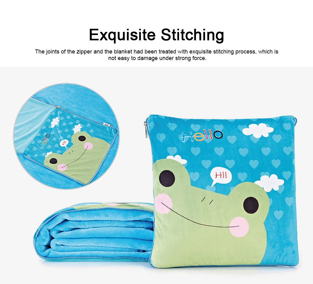 Cute Carton Painting Amphibious Dual-purpose Multifunctional Coral Fleece Blanket Office Car Waist Protection Cushion 1