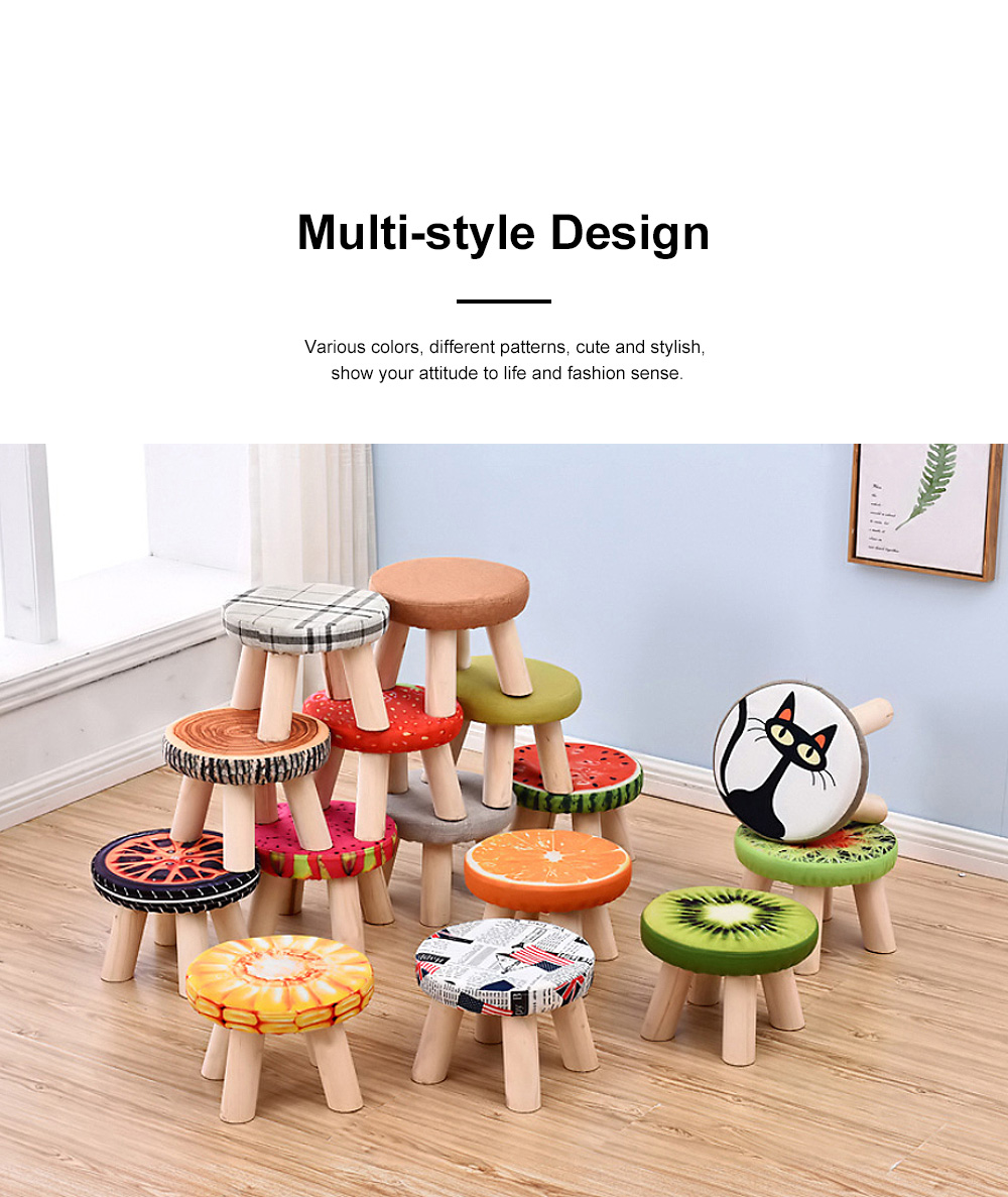 Simple Fruit Patterns Footstool with Solid Wooden Legs Small Round Fabric Ottoman for Home Decoration 1
