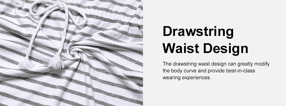 Contrast Colored Striped Maternity Dress, Pregnant Woman Cloth Nursing Dress with Drawstring Waist 4