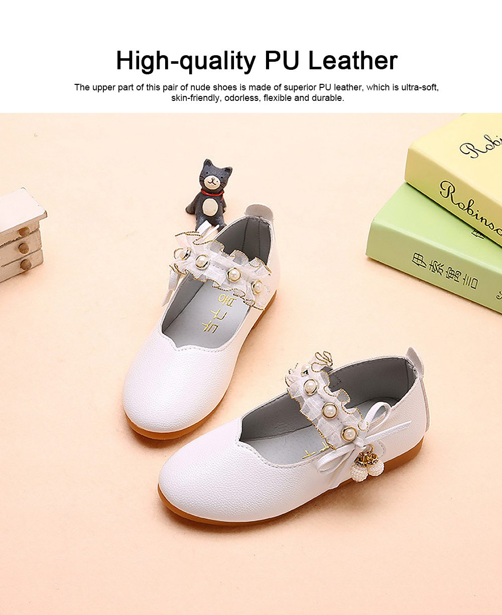 Cute Beautiful Lace Artificial Pearls Rhinestone Decorative Round Head Children Girls Soft PU Leather Nude Shoes with Magic Tape 4