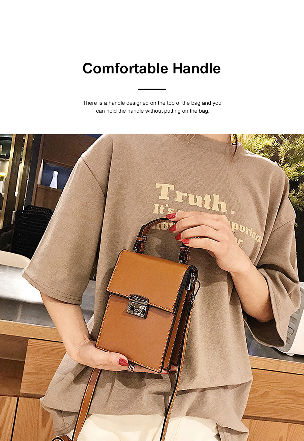 Minimalist Vintage Women Shoulder Slung Bag with Comfortable Handle Small Phone PU Leather Hand Bag for Ladies 1