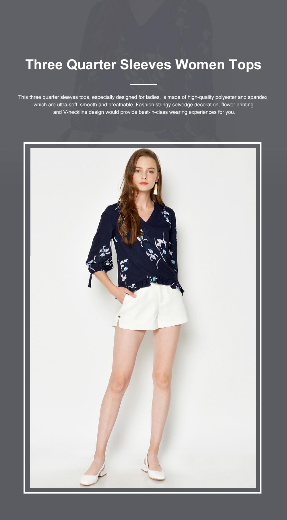 Fashion Navy Blue Printing Three Quarter Sleeves Women Tops, V-neckline Chiffon with Stringy Selvedge for Ladies 0