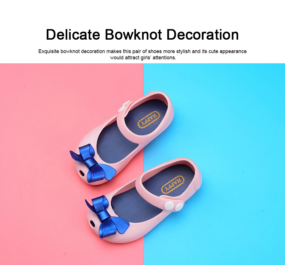 Cute Stylish Bowknot Decorative Soft Flexible PVC Rubber Children Girls Nude Beach Shoes with Snap Fastener 1