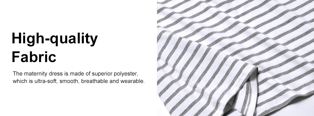 Contrast Colored Striped Maternity Dress, Pregnant Woman Cloth Nursing Dress with Drawstring Waist 3