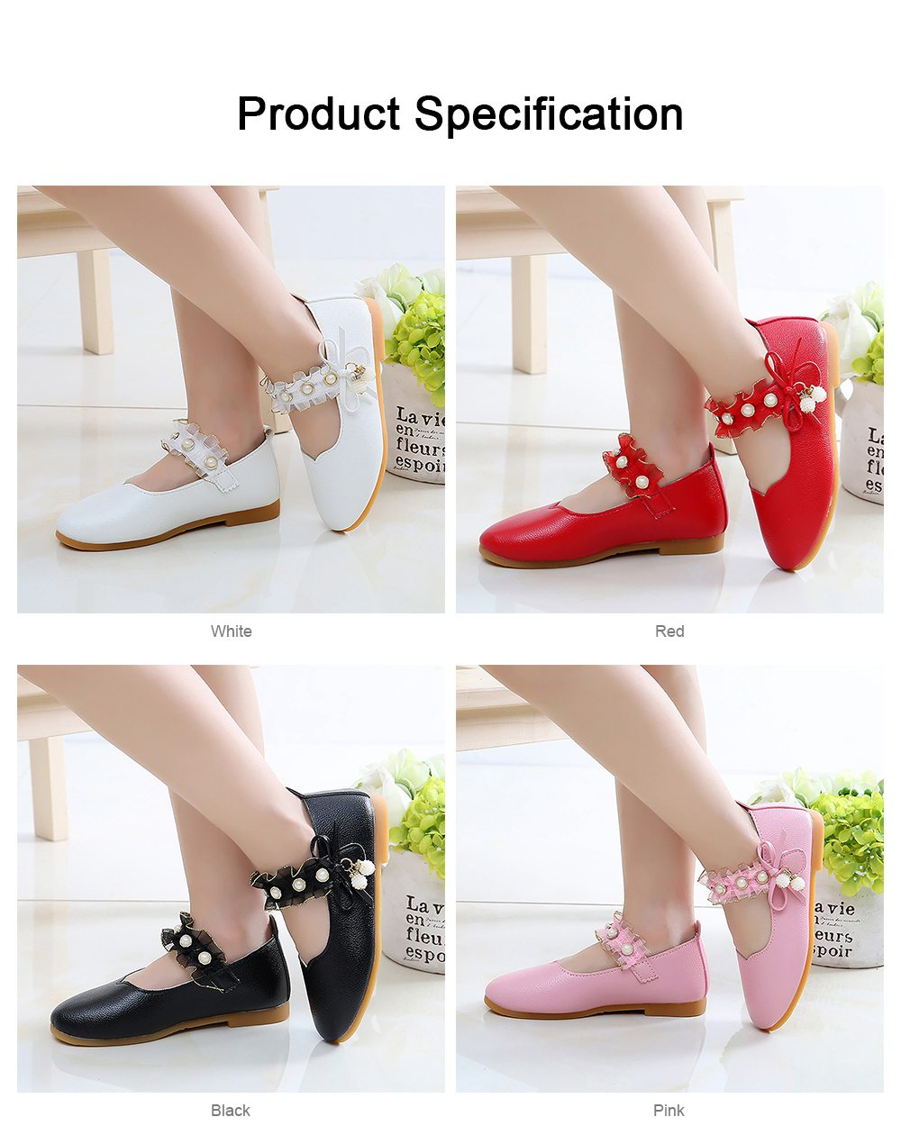 Cute Beautiful Lace Artificial Pearls Rhinestone Decorative Round Head Children Girls Soft PU Leather Nude Shoes with Magic Tape 5
