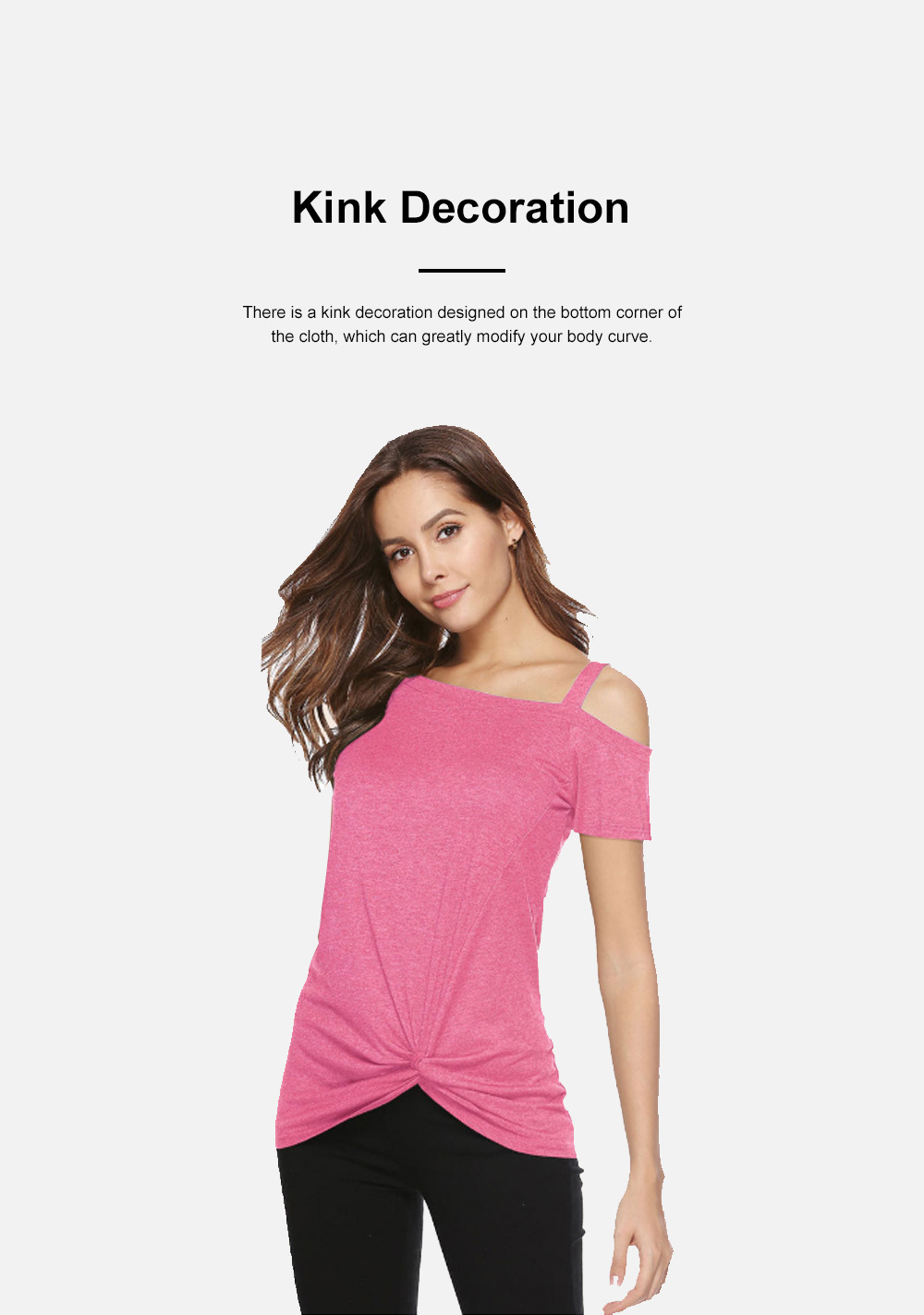 Minimalist Fashion Kink Decoration Off-Shoulder Women T-shirt, Ultra-soft Casual Pure Color Tops for Ladies 3