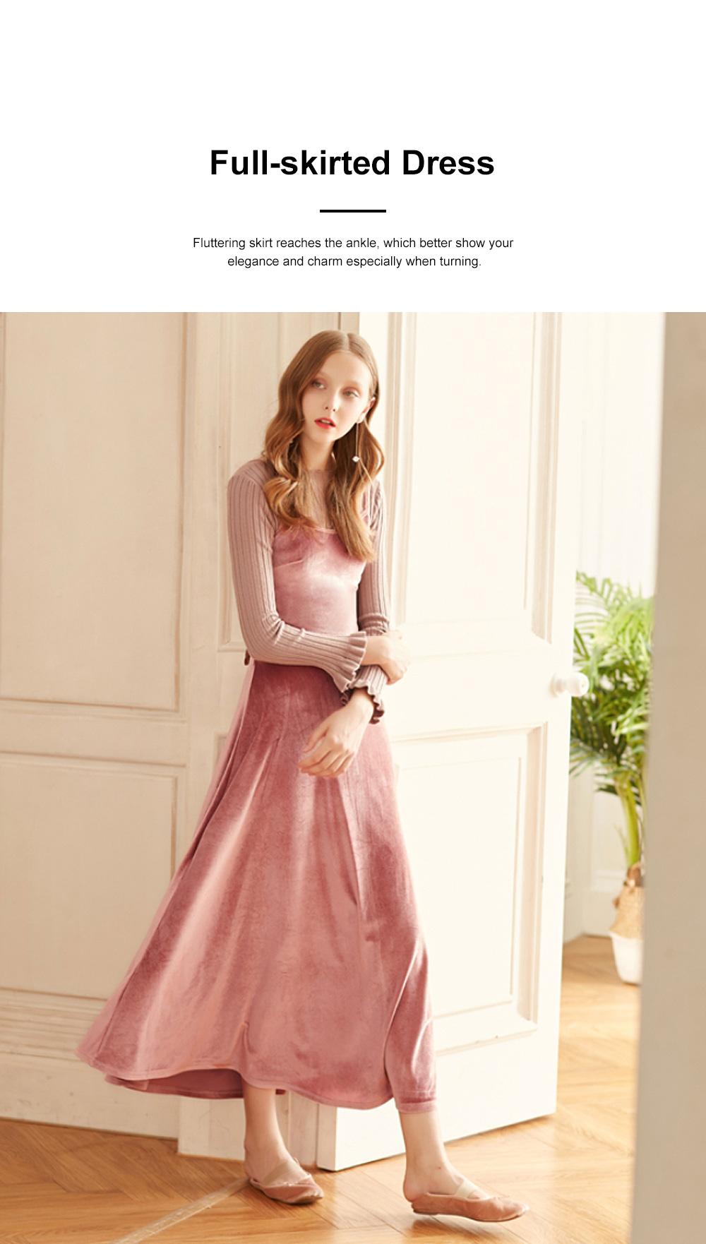 Women's Overall Suspender Dress Velvet Classic Retro Style with High Waist and Back Strap Ankle Length Bottoming Vest Skirt 1