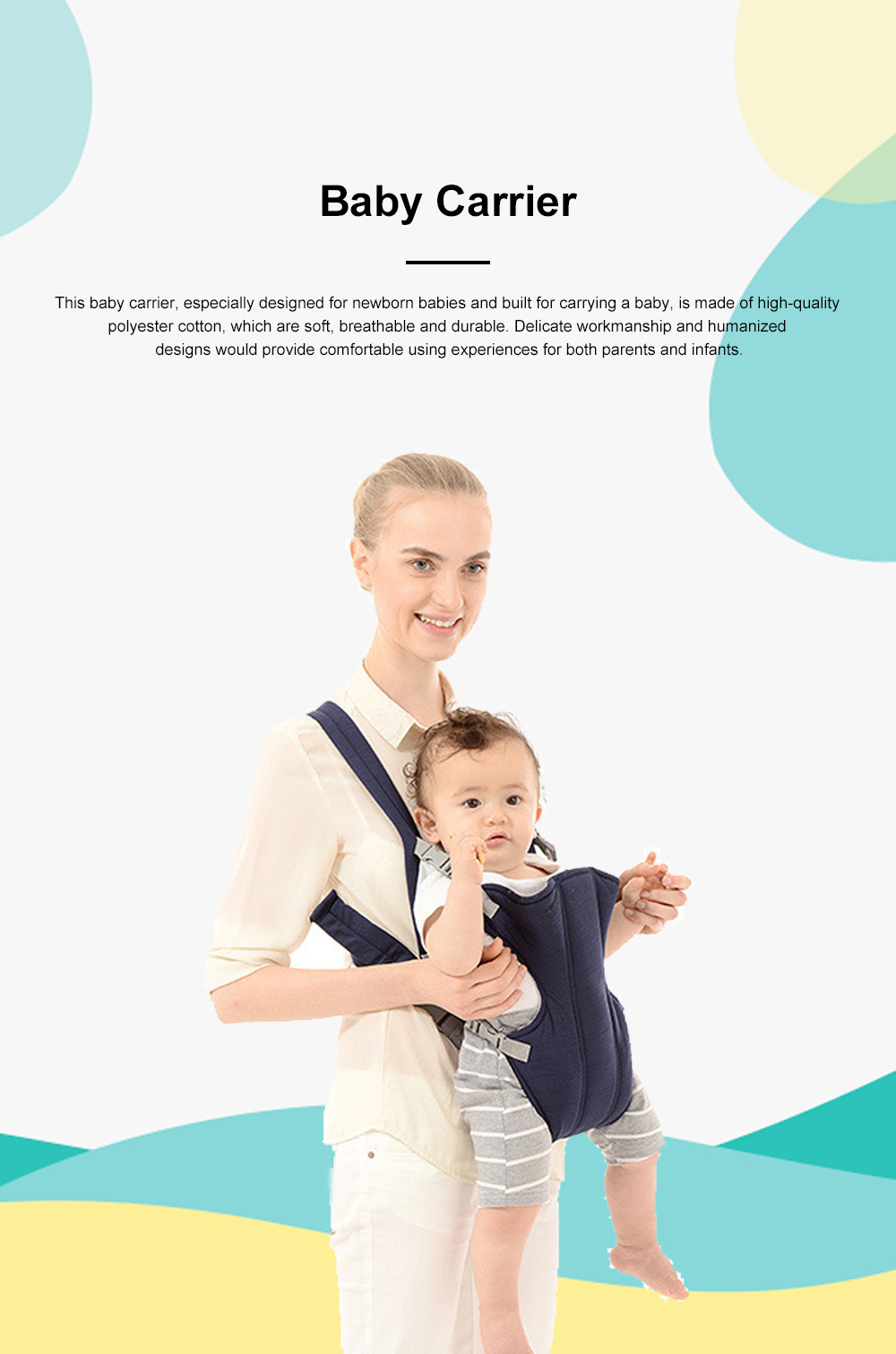 Multifunctional Breathable Newborn Baby Carrier, Adjustable Infant Front Sling Backpack with Safety Buckle 0