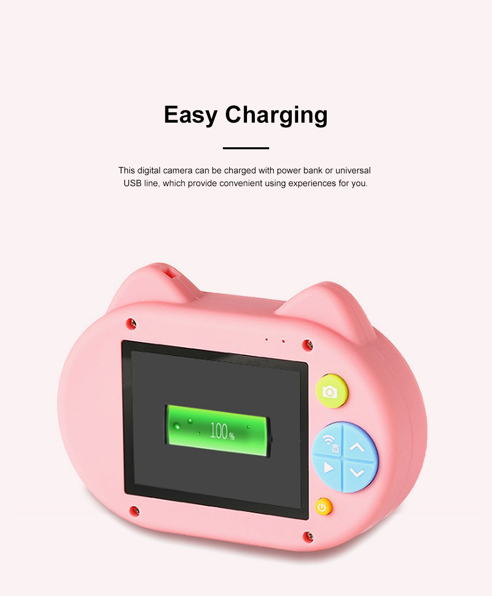 Cute Animal Model Mini Digital Camera for Children WIth Breaking-proof Silicone Shell 16G 1200W HD Pixel 2.0 inch Video Recorder Birthday Present 7
