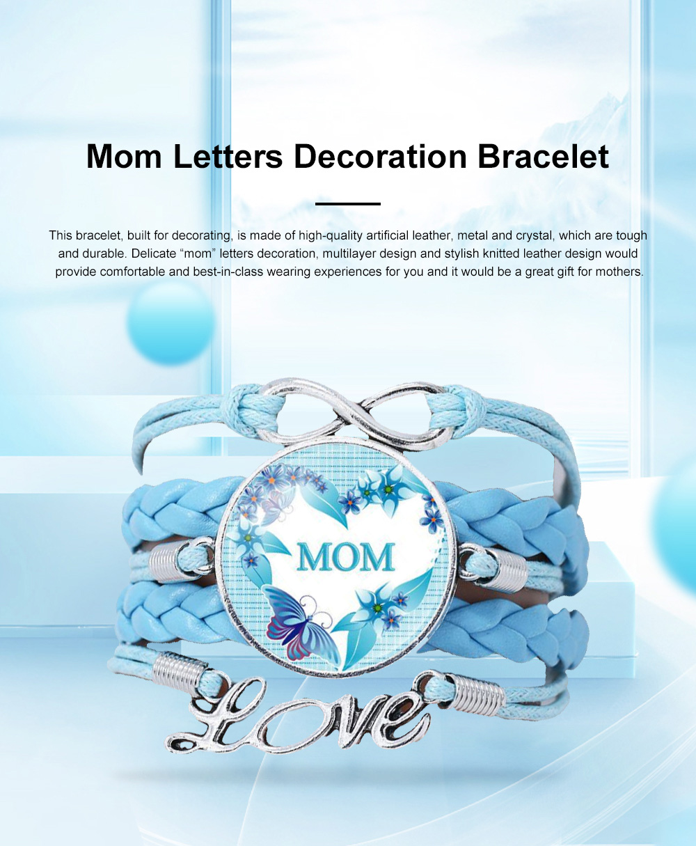 Stylish Fancy Family Mom Letters Decoration Bracelet, Multiple Layers Knitted Leather Cystal Hand Chain 0