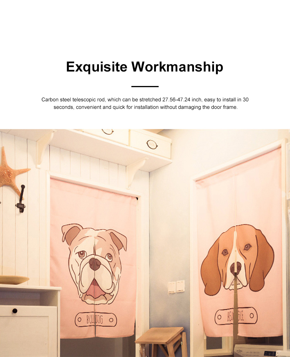 Door Window Curtain for Party with Rod Fabric Front Door Curtain Dog Print for Bedroom Living Room 3