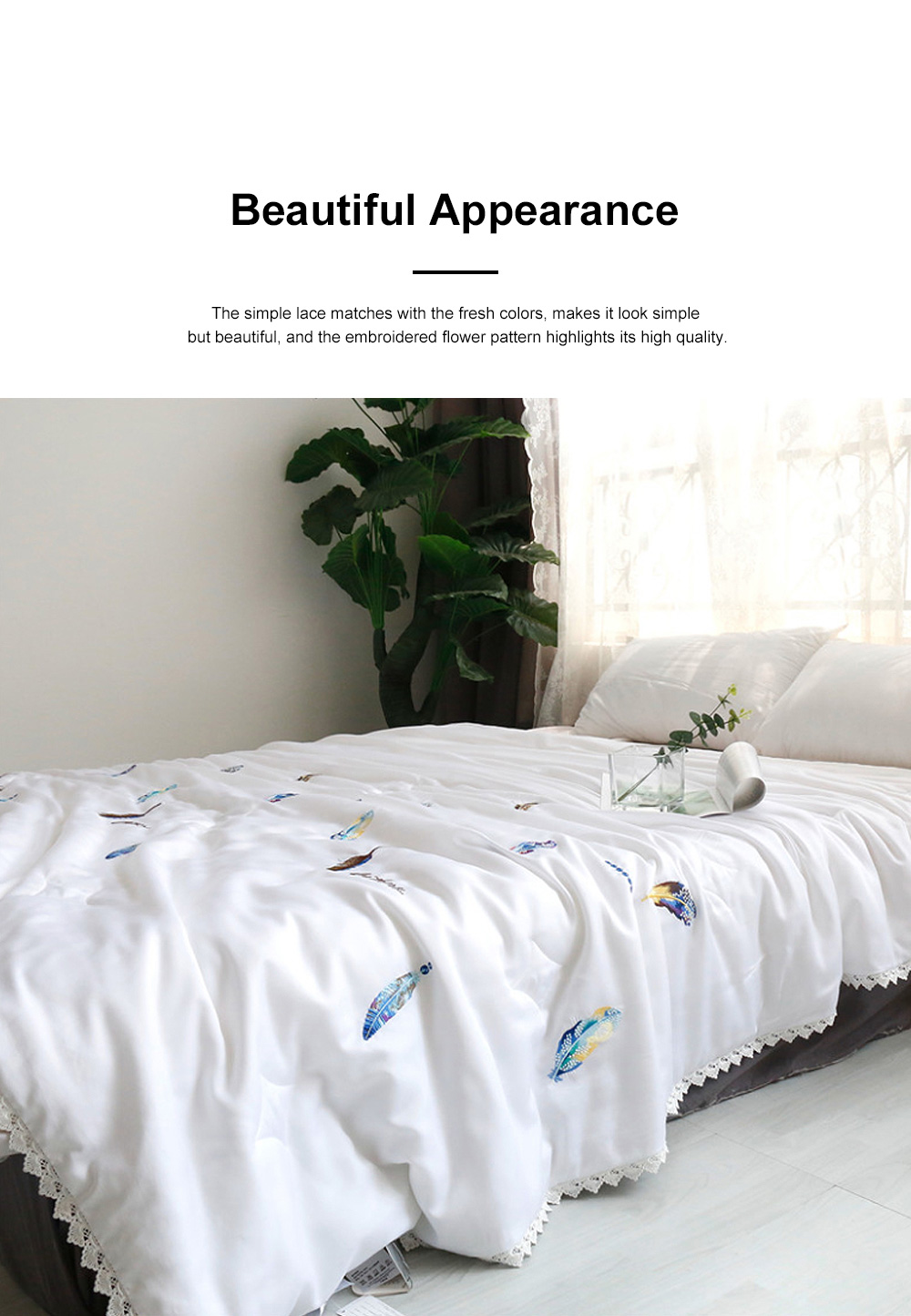 Embroidered Thin Double Summer Quilt Size High Quality Tencel Material Air Conditioning Cool Quilt 1