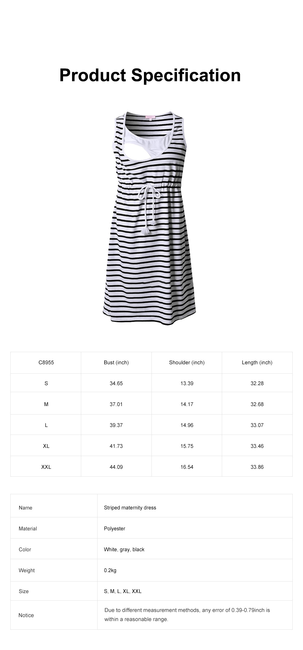 Contrast Colored Striped Maternity Dress, Pregnant Woman Cloth Nursing Dress with Drawstring Waist 5