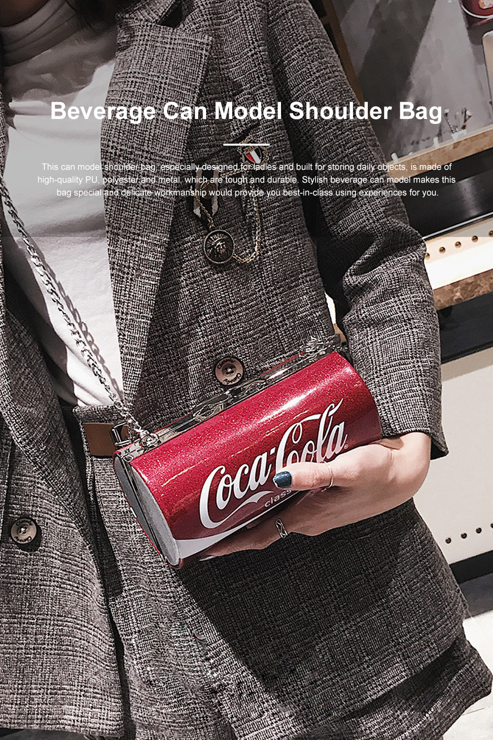Cute Creative Coca-Cola Sprite Can Lady Shoulder Bag, Tough PU Creative Letters Decoration Small Cross-body Bag for Women 0