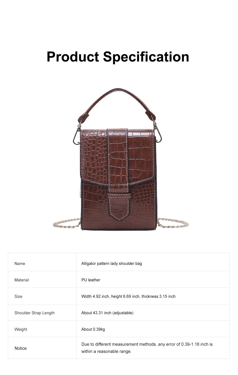 Minimalist Alligator Pattern Chain Lady Shoulder Bag, Skin-friendly PU Leather Small Handle Bag for Women 6