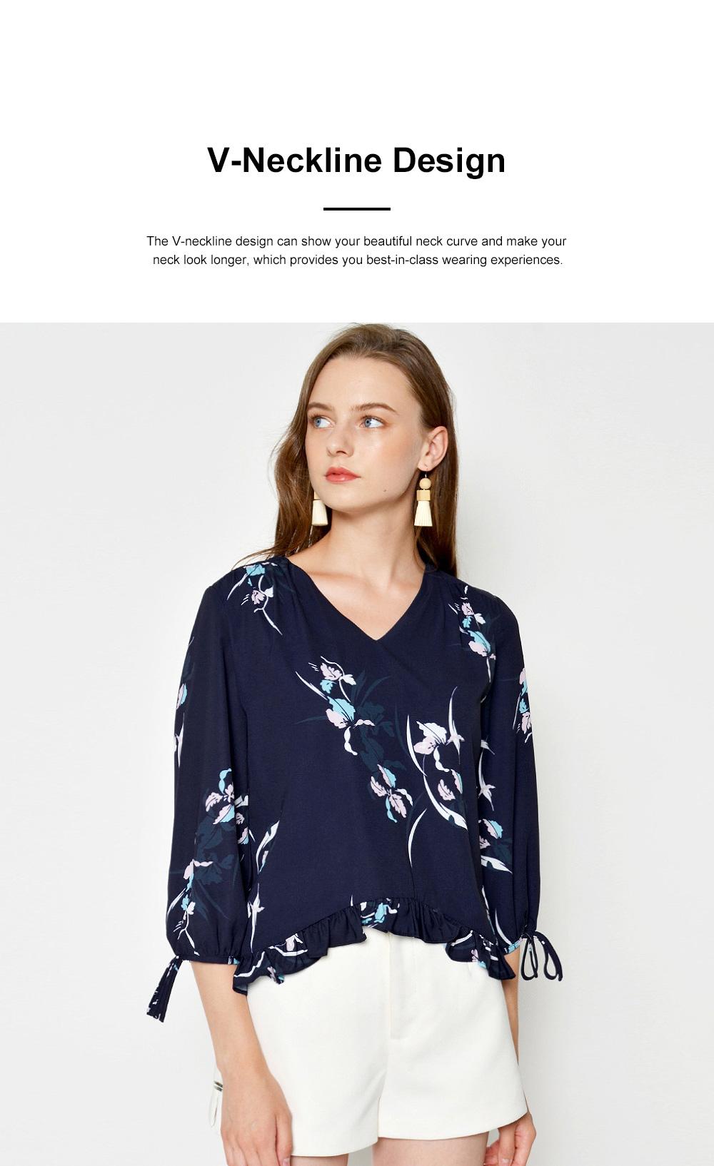 Fashion Navy Blue Printing Three Quarter Sleeves Women Tops, V-neckline Chiffon with Stringy Selvedge for Ladies 1