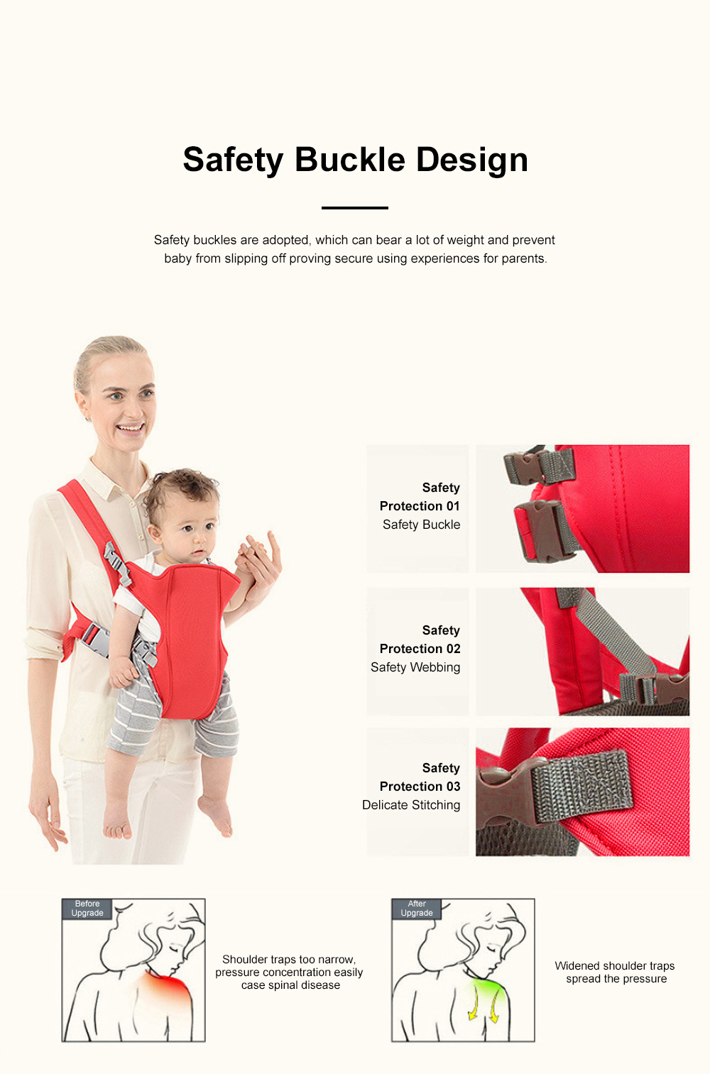 Multifunctional Breathable Newborn Baby Carrier, Adjustable Infant Front Sling Backpack with Safety Buckle 2