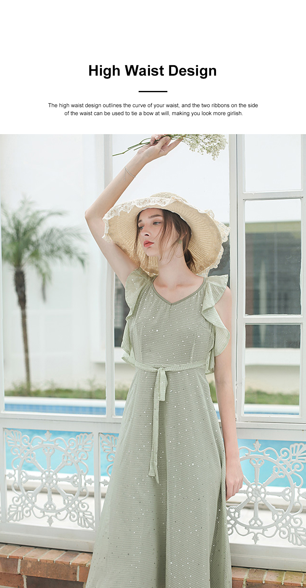 Long Chiffon Dress for 18-24 Years Girls Olive Green Backless Sequined Dress for Women Casual in Summer 1