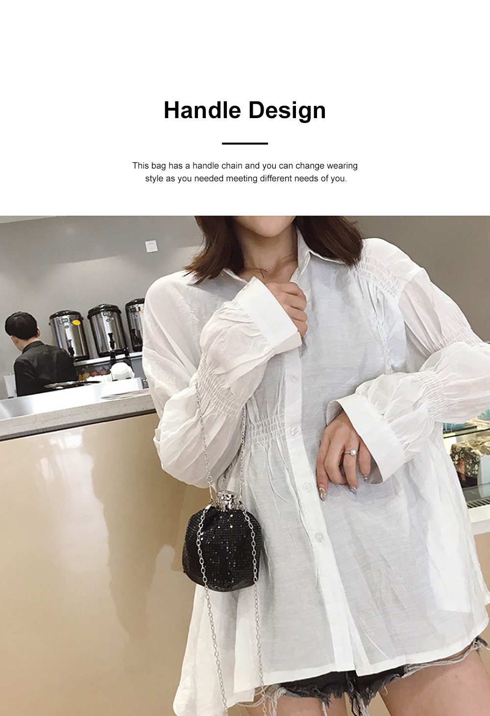 Creative Shiny Aluminum Slices Kettle Model Lady Shoulder Bag, Fashion Stylish Wine Pot Jar Hand Bag for Women 1