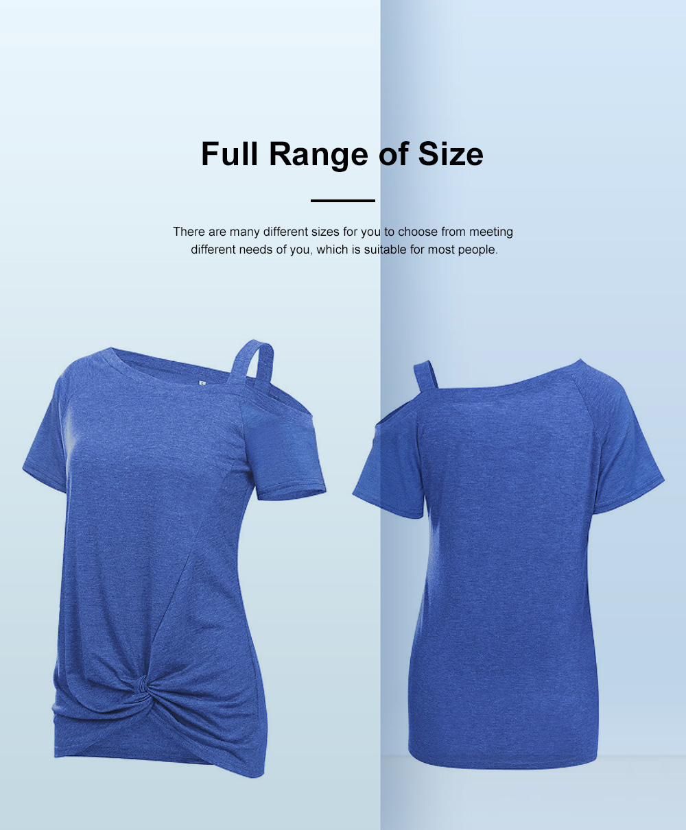 Minimalist Fashion Kink Decoration Off-Shoulder Women T-shirt, Ultra-soft Casual Pure Color Tops for Ladies 2