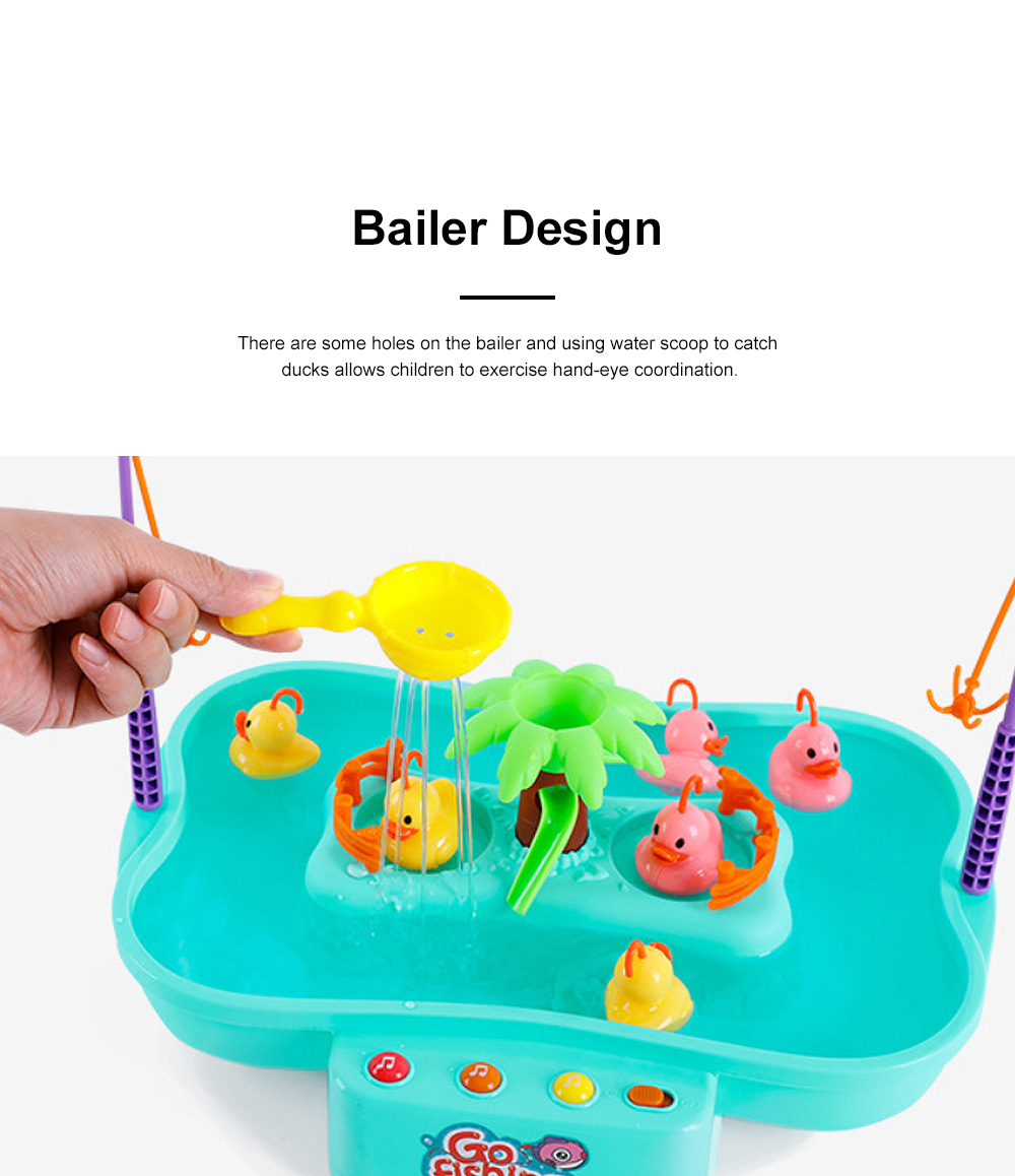 Rotation Ducks Toys Fishing Game with Music Play, Children Splashing Puzzle Game Parent-Children Interaction 4