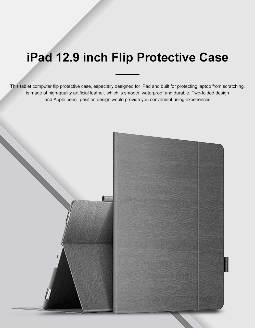 Simple Two-folded iPad Pro 12.9 9.7 inch Flip Protective Case, Smooth Artificial Leather iPad Computer Protective Sleeve Supporter 0