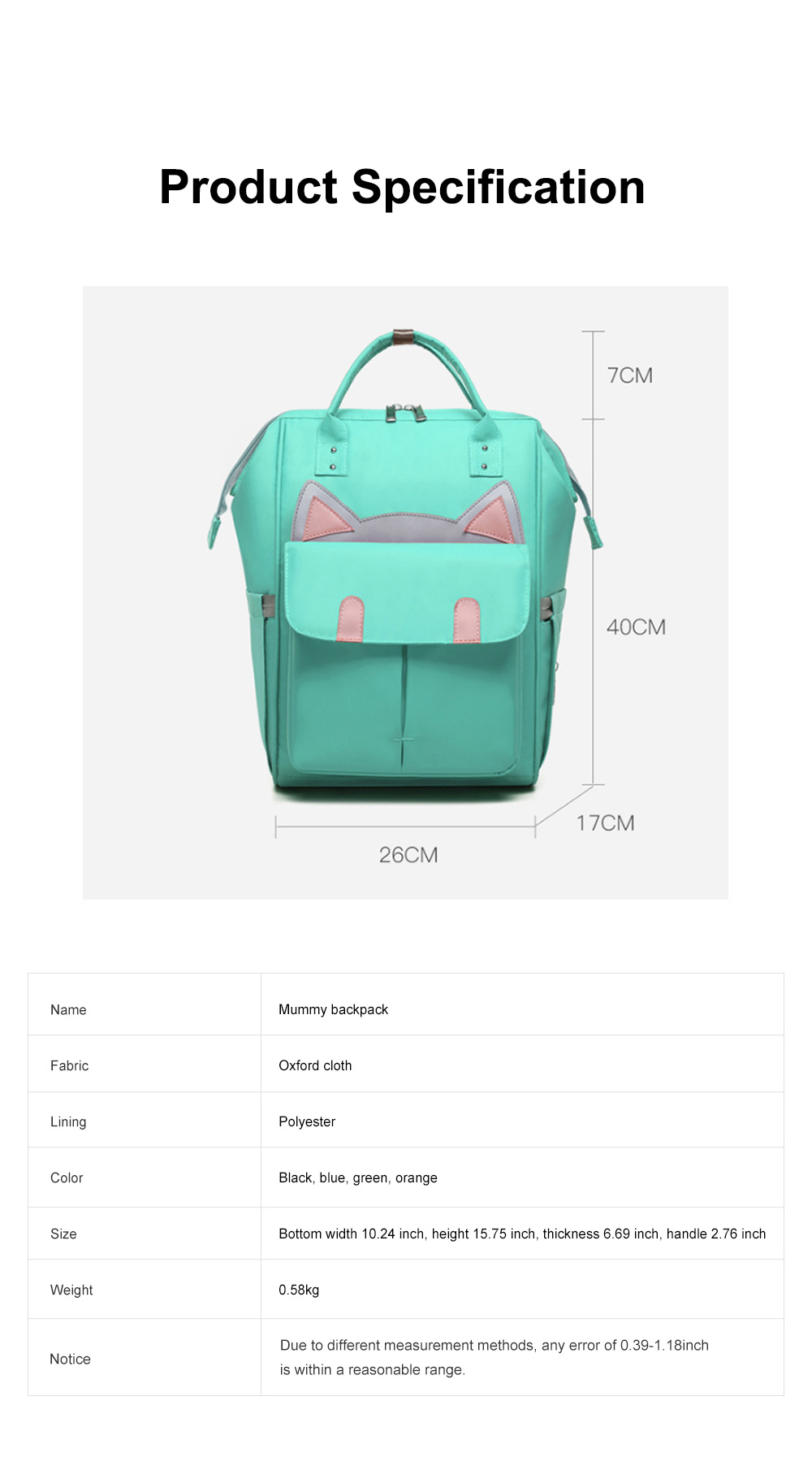 Large Capacity Multifunctional Mummy Backpack, Waterproof Oxford Cloth Napkin Shoulder Bag for Mother 8