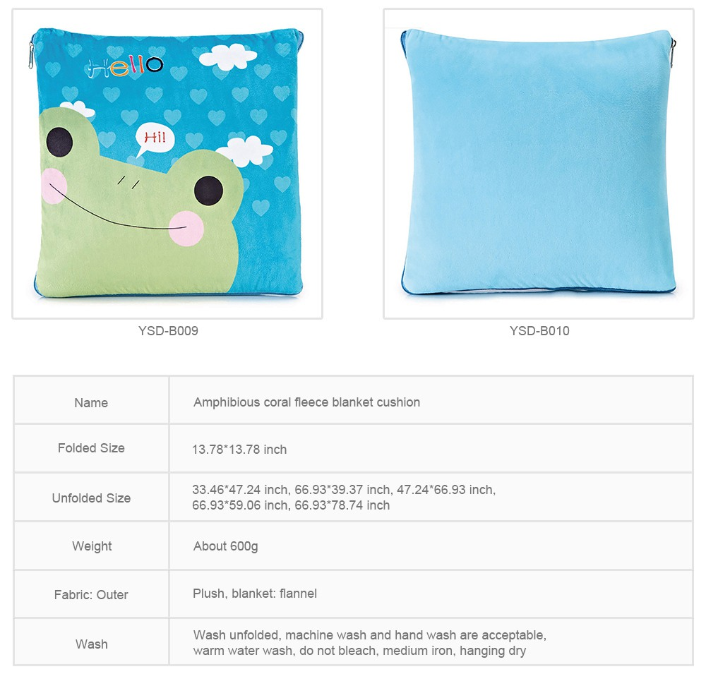Cute Carton Painting Amphibious Dual-purpose Multifunctional Coral Fleece Blanket Office Car Waist Protection Cushion 9