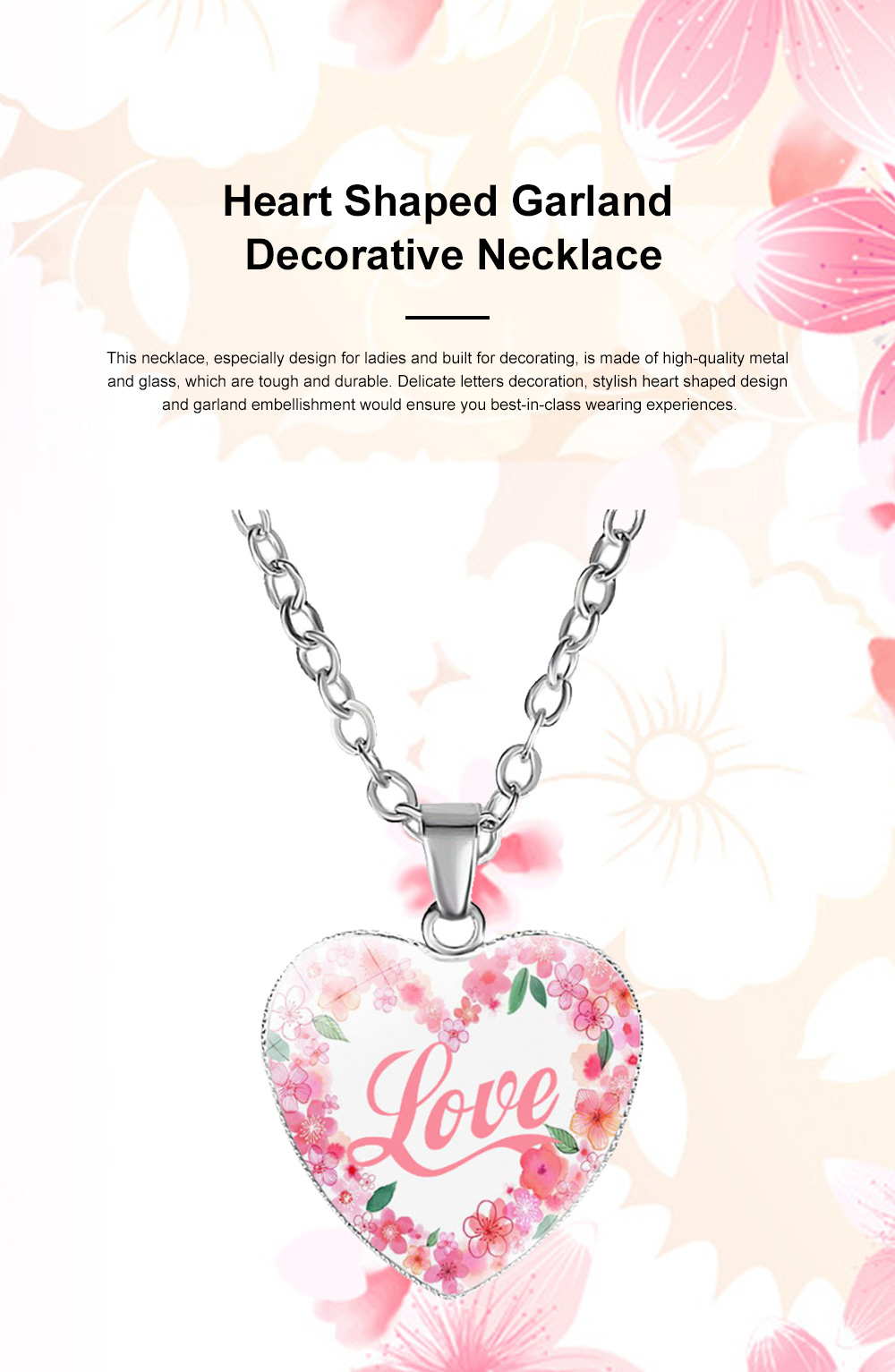 Elegant Fancy Hope Faith Dream Letters Decoration Necklace, Stylish Heart Shaped Roses Garland Ornamented Necklace for Ladies 0