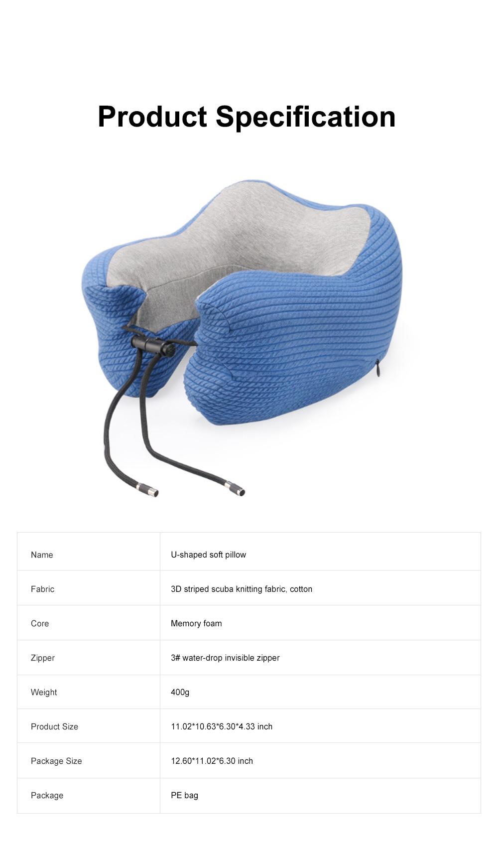 Slow Rebound Memory Foam U-Shaped Soft Pillow, Functional Office School Noon Break Pillow with Adjustable String Buckle 7