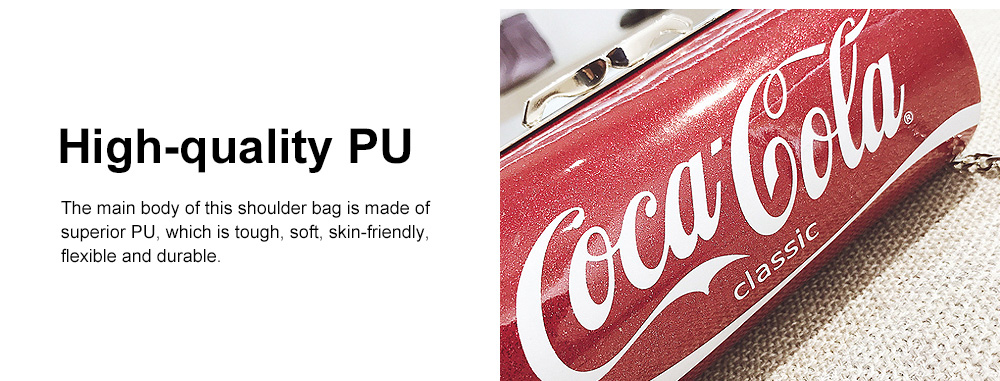 Cute Creative Coca-Cola Sprite Can Lady Shoulder Bag, Tough PU Creative Letters Decoration Small Cross-body Bag for Women 4