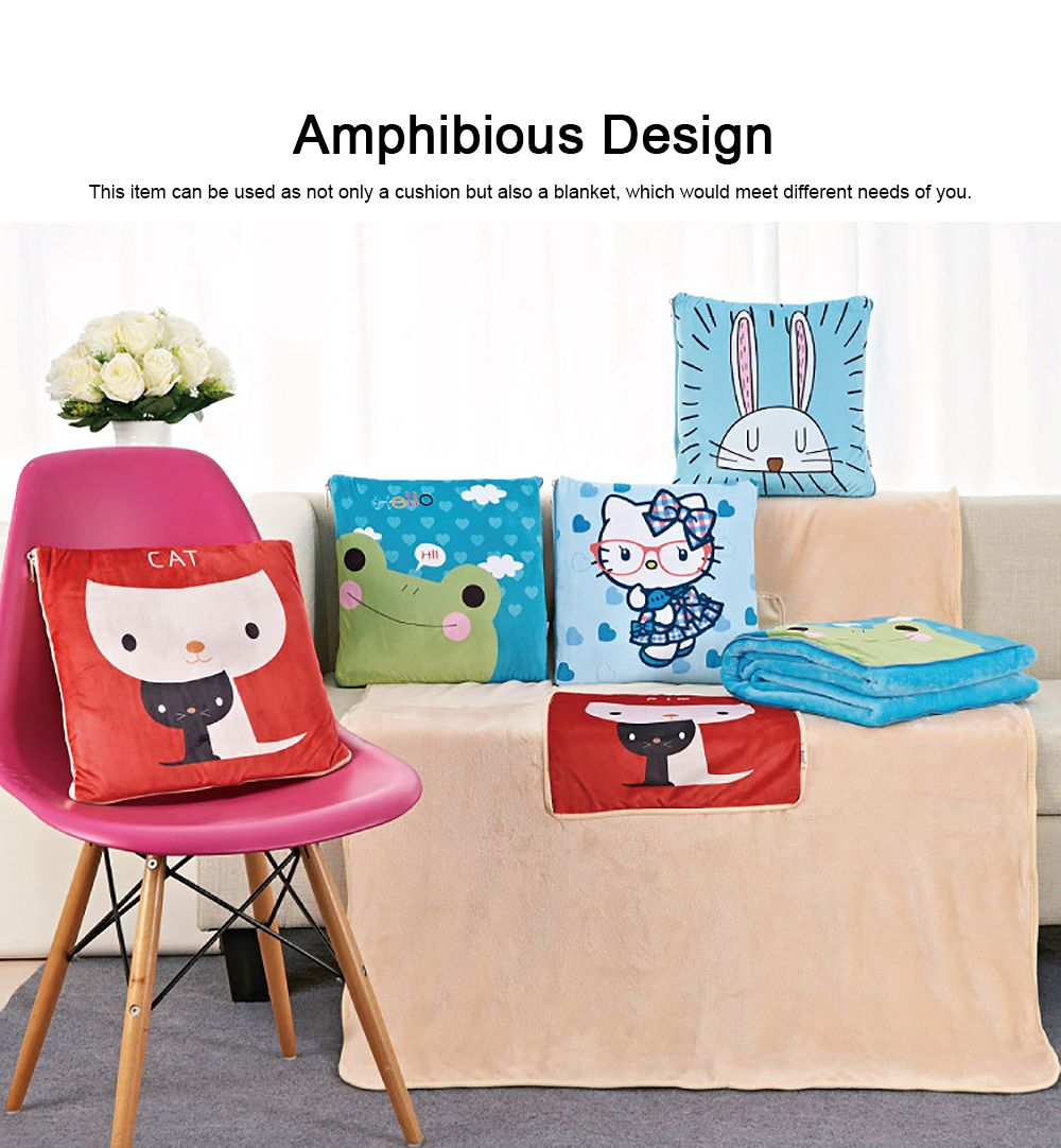 Cute Carton Painting Amphibious Dual-purpose Multifunctional Coral Fleece Blanket Office Car Waist Protection Cushion 5