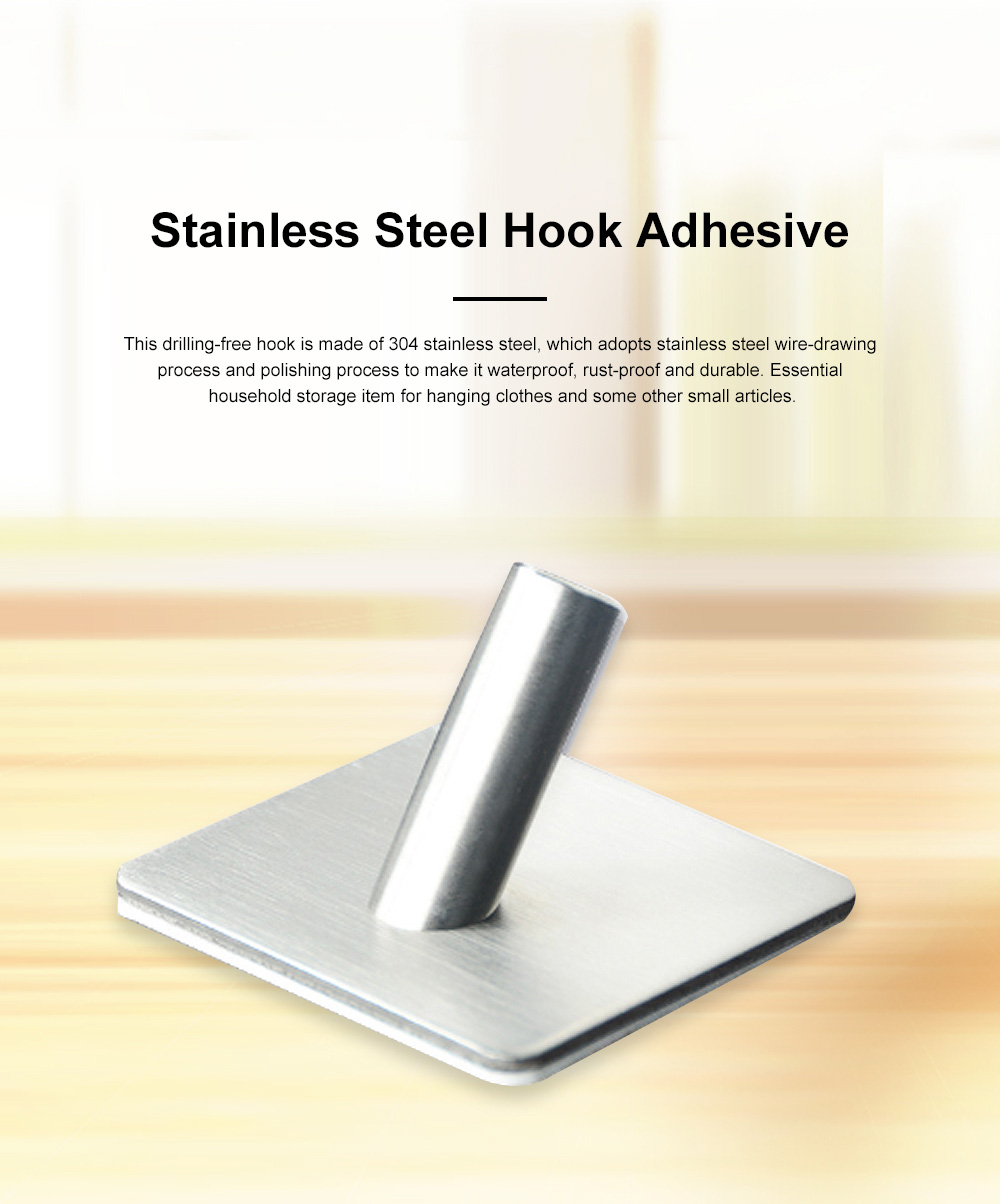 Stainless Steel Hooks for Hanging Kitchen Utensils and Clothes Drilling-free and Waterproof 3M Glue Wall Hooks 0
