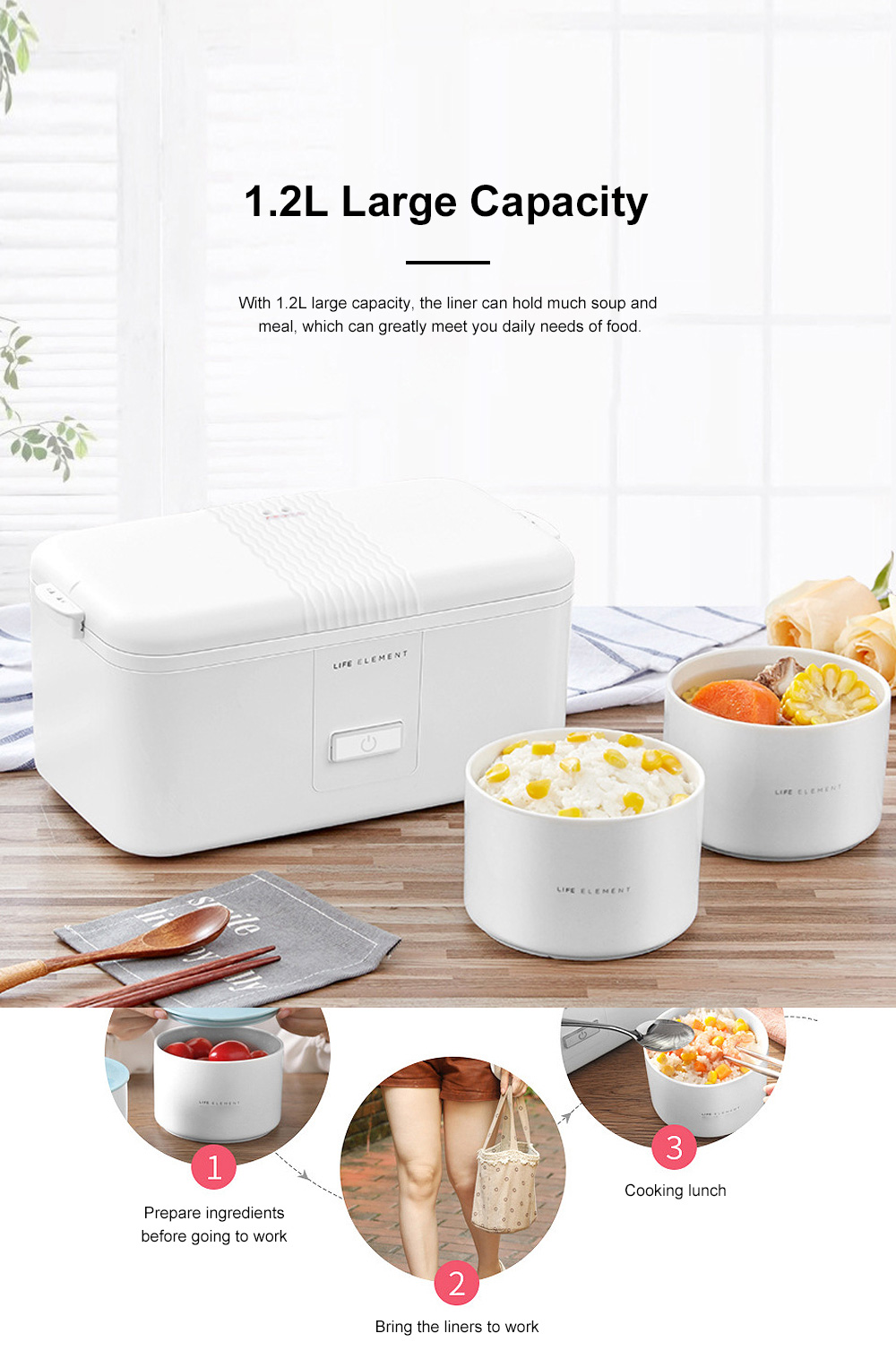 Portable Heat Preservation Electric Cooker with Double Ceramics Bowls, Delicate Food-grade PP Material Heating Lunch Box 2