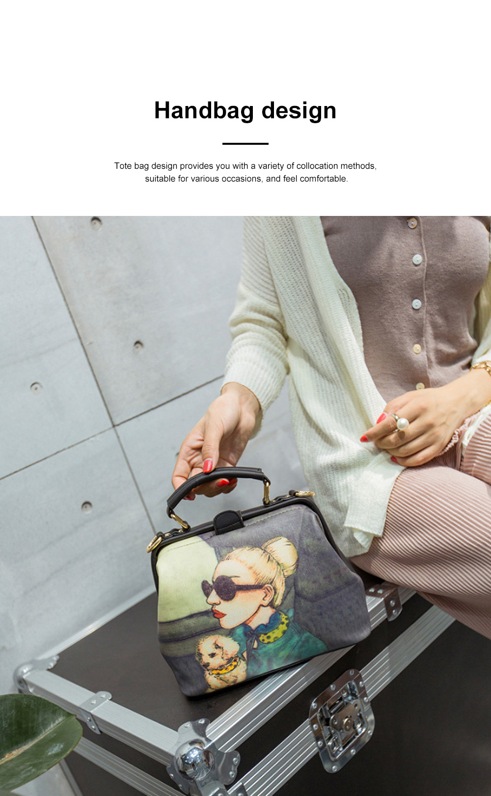 Fashion Stylish Painting Women Shoulder Bag with Handle, Large Capacity Soft PU Leather Bag for Ladies 2
