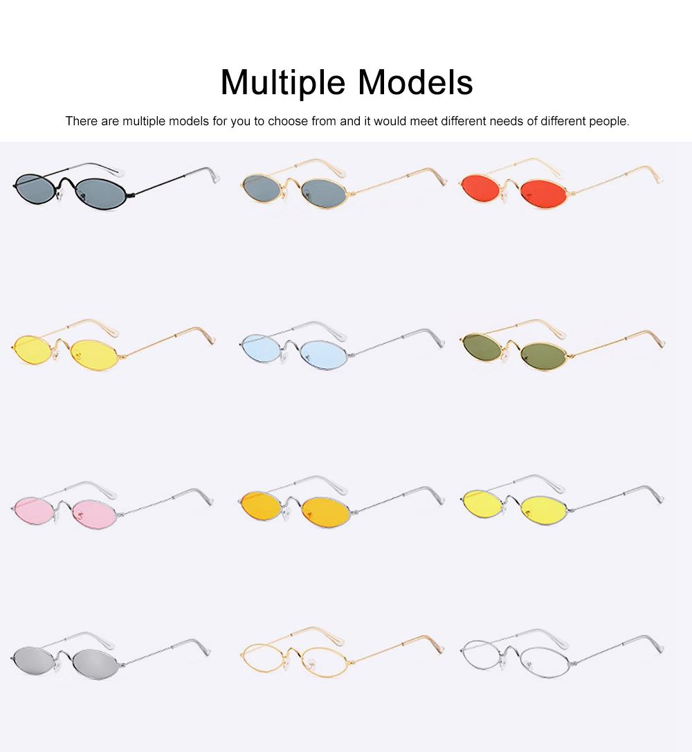 Stylish Individual Oval Model Frame Unisex Sunglasses Sunlight UV Protection Eyeglasses for Women Men 4