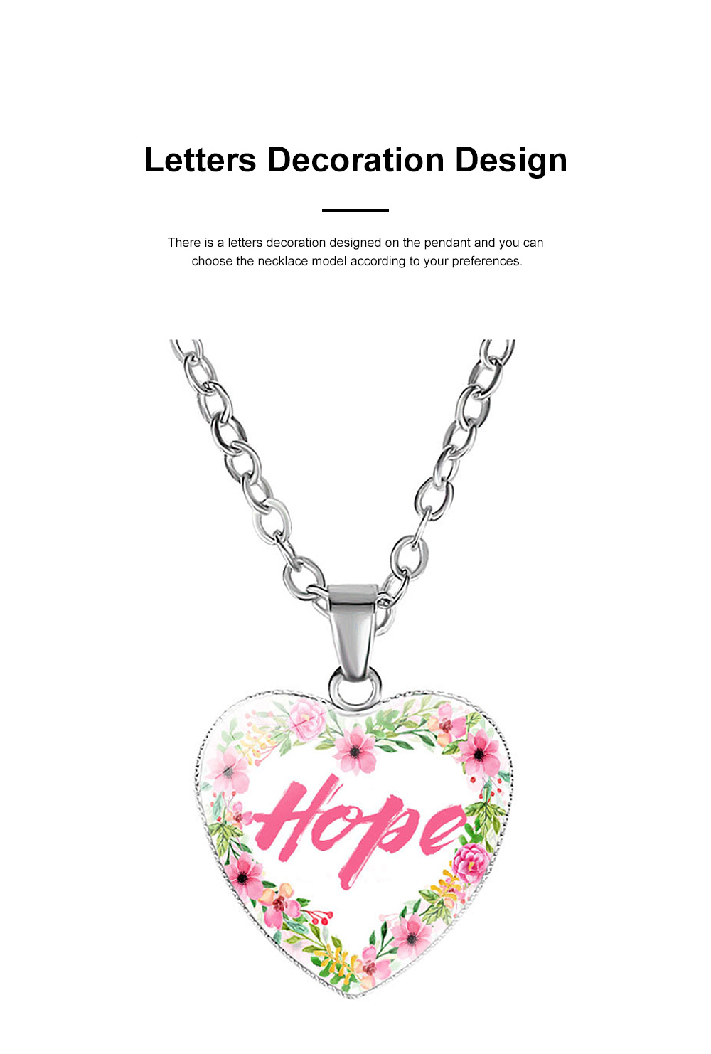 Elegant Fancy Hope Faith Dream Letters Decoration Necklace, Stylish Heart Shaped Roses Garland Ornamented Necklace for Ladies 2